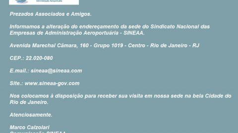 Novo endereçamento da Sede do Sineaa.