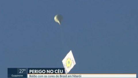 Balão é flagrado perto da Ponte Rio-Niterói, próximo à pista do Aeroporto Santos Dumont.